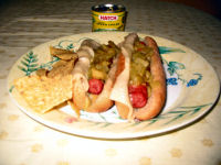 Green chile and Swiss cheese hotdogs